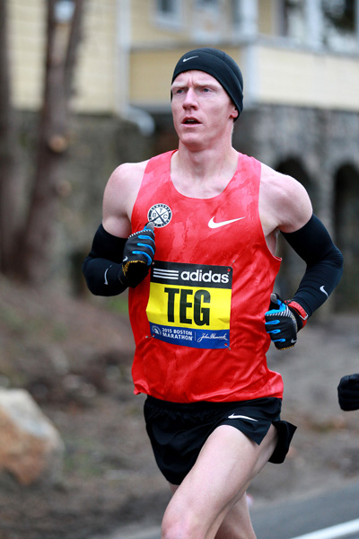 In what turned out to be his last pro race, Teg placed 11th in 2:13:52 at the 2015 Boston Marathon. Photo by Victah Sailer/PhotoRun.