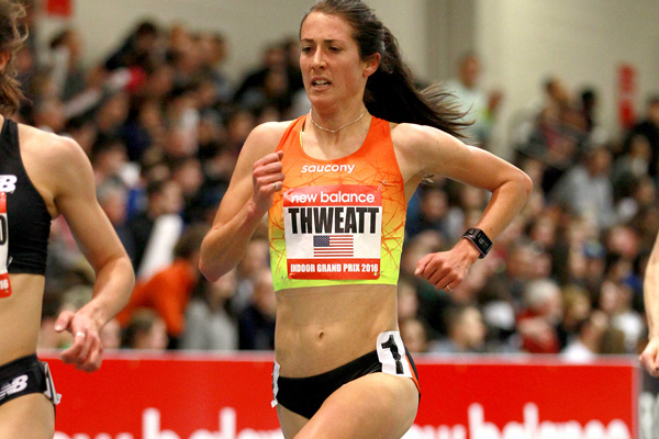 Laura Thweatt en route to a 3,000-meter PR at the New Balance Indoor Grand Prix on February 14, 2016. Photo by Victor Sailer/PhotoRun.