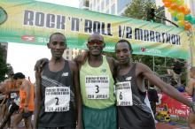 Yuda, Nyariki, and Munyeki at the Start of the San Jose 1/2 Marathon (Photo by Victah Sailer)