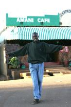 The author, during more peaceful times in Iten, in front of one of the town's destination restaurants. Photo courtesy of www.photorun.net.