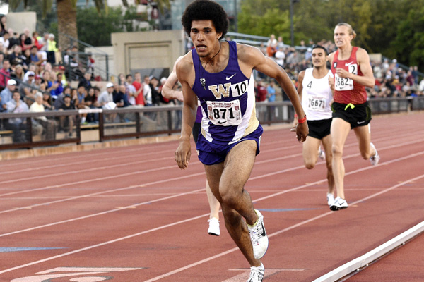 Izaic Yorks wins the 1500 in a personal best at the Payton Jordan Invitational on May 1. The former University of Washington star has signed a pro contract with Brooks.